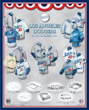 Los Angeles Dodgers 11 x 14 Uniform History Plaque