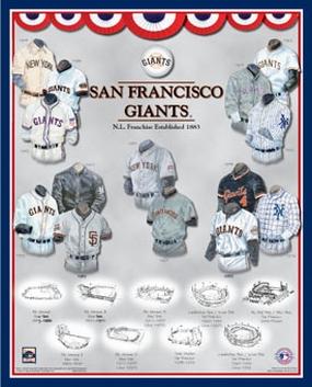 San Francisco Giants 11 x 14 Uniform History Plaque