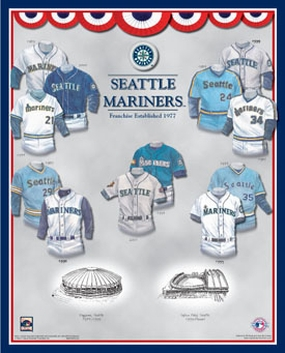 Seattle Mariners 11 x 14 Uniform History Plaque