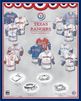 Texas Rangers 11 x 14 Uniform History Plaque