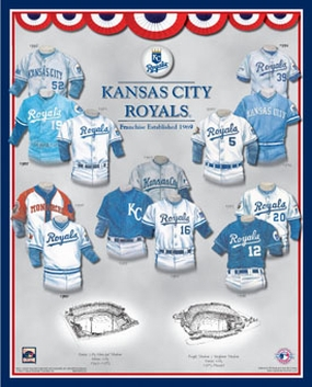 Kansas City Royals 11 x 14 Uniform History Plaque