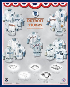 Detroit Tigers 11 x 14 Uniform History Plaque