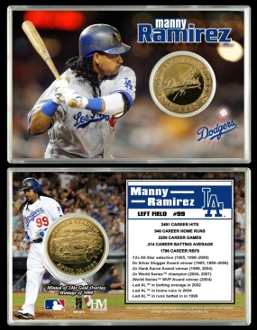 Manny Ramirez Los Angeles Dodgers 24KT Gold Coin Card