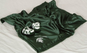 Michigan State Spartans Baby Blanket and Slippers
