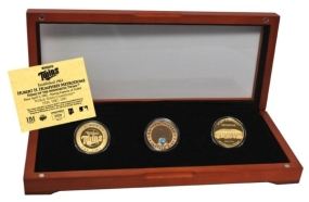 MINNESOTA TWINS 24kt Gold and Infield Dirt 3 Coin Set