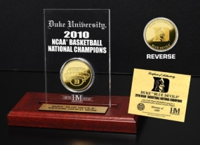 2010 NCAA Basketball Champions 24KT Gold Coin Etched Acrylic