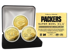 Green Bay Packers Super Bowl XLV 24KT Gold Flip Coin Set