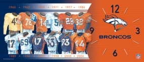 Denver Broncos Uniform History Clock