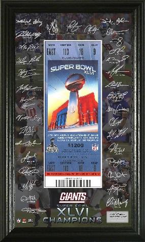 Super Bowl XLVI Champions Signature Ticket Frame