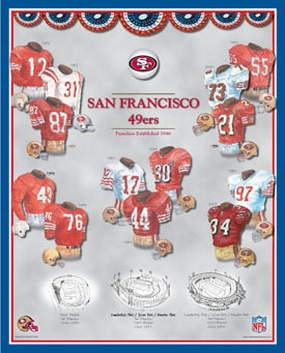 San Francisco 49ers 11 x 14 Uniform History Plaque