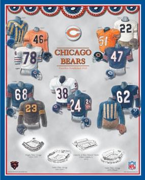 Chicago Bears 11 x 14 Uniform History Plaque
