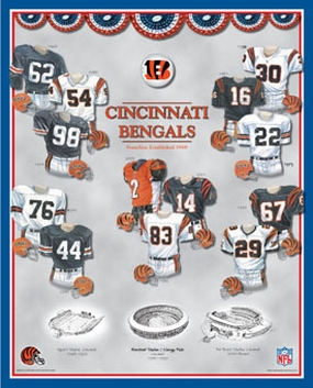 Cincinnati Bengals 11 x 14 Uniform History Plaque