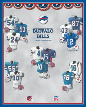 Buffalo Bills 11 x 14 Uniform History Plaque