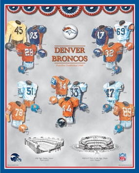 Denver Broncos 11 x 14 Uniform History Plaque