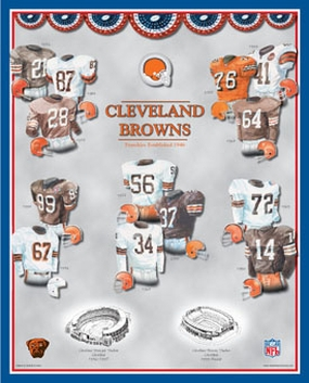 Cleveland Browns 11 x 14 Uniform History Plaque