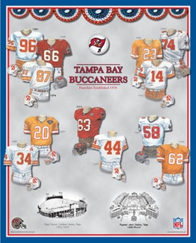 Tampa Bay Buccaneers 11 x 14 Uniform History Plaque