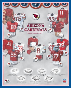 Arizona Cardinals 11 x 14 Uniform History Plaque