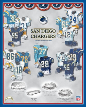 San Diego Chargers 11 x 14 Uniform History Plaque