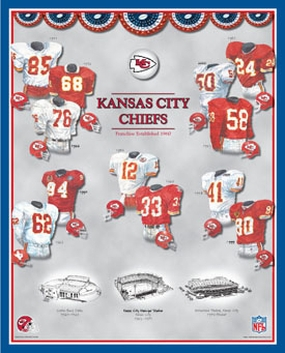 Kansas City Chiefs 11 x 14 Uniform History Plaque