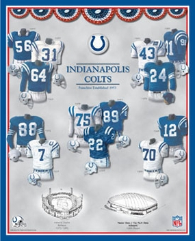 Indianapolis Colts 11 x 14 Uniform History Plaque