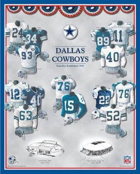 Dallas Cowboys 11 x 14 Uniform History Plaque