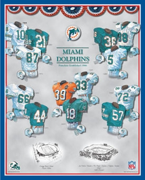 Miami Dolphins 11 x 14 Uniform History Plaque