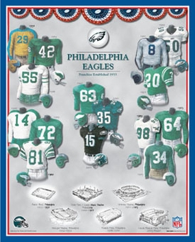 Philadelphia Eagles 11 x 14 Uniform History Plaque