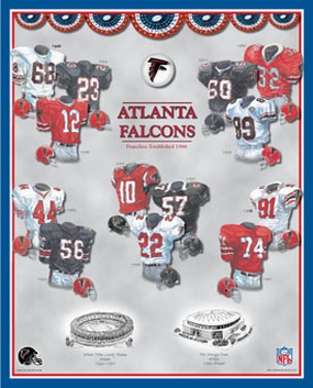 Atlanta Falcons 11 x 14 Uniform History Plaque