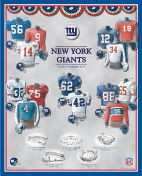 New York Giants 11 x 14 Uniform History Plaque