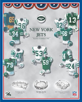 New York Jets 11 x 14 Uniform History Plaque