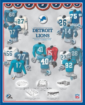 Detroit Lions 11 x 14 Uniform History Plaque