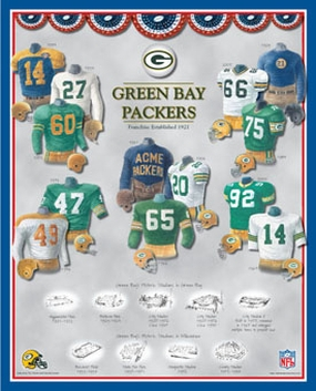 Green Bay Packers 11 x 14 Uniform History Plaque