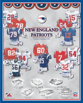 New England Patriots 11 x 14 Uniform History Plaque