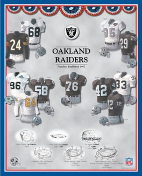 Oakland Raiders 11 x 14 Uniform History Plaque