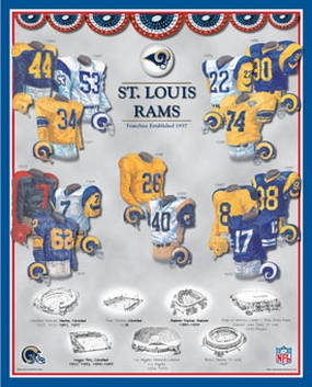 Saint Louis Rams 11 x 14 Uniform History Plaque