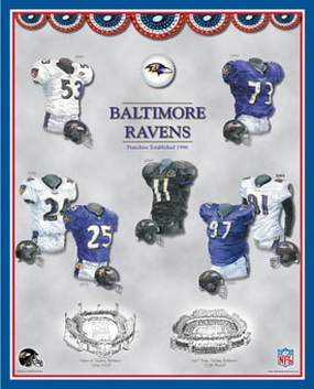 Baltimore Ravens 11 x 14 Uniform History Plaque