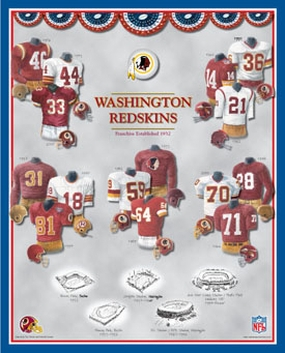 Washington Redskins 11 x 14 Uniform History Plaque