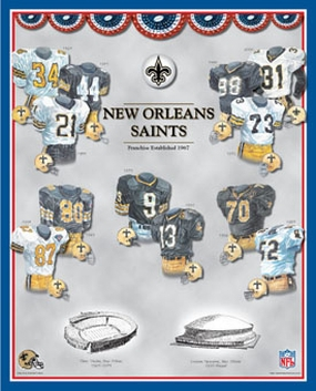 New Orleans Saints 11 x 14 Uniform History Plaque