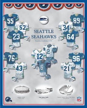 Seattle Seahawks 11 x 14 Uniform History Plaque