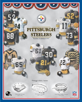Pittsburgh Steelers 11 x 14 Uniform History Plaque