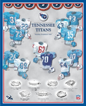 Tennessee Titans 11 x 14 Uniform History Plaque