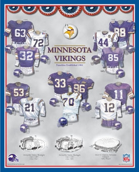 Minnesota Vikings 11 x 14 Uniform History Plaque