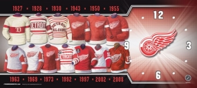 Detroit Red Wings Uniform History Clock