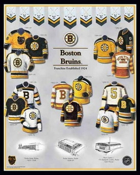 Boston Bruins 11 x 14 Uniform History Plaque