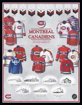 Montreal Canadiens 11 x 14 Uniform History Plaque