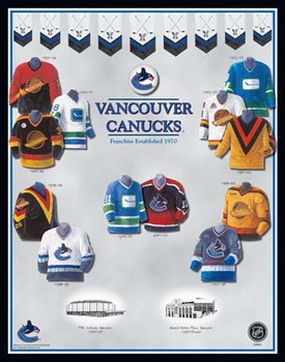Vancouver Canucks 11 x 14 Uniform History Plaque