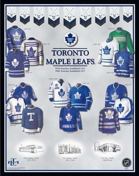 Toronto Maple Leafs 11 x 14 Uniform History Plaque