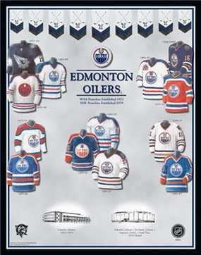 Edmonton Oilers 11 x 14 Uniform History Plaque