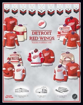 Detroit Red Wings 11 x 14 Uniform History Plaque