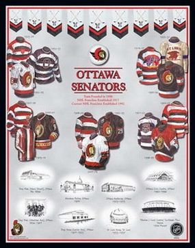 Ottawa Senators 11 x 14 Uniform History Plaque